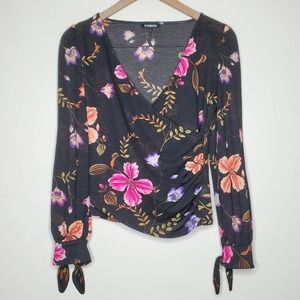 Express Faux Wrap Colorful Tropical Floral Top XS